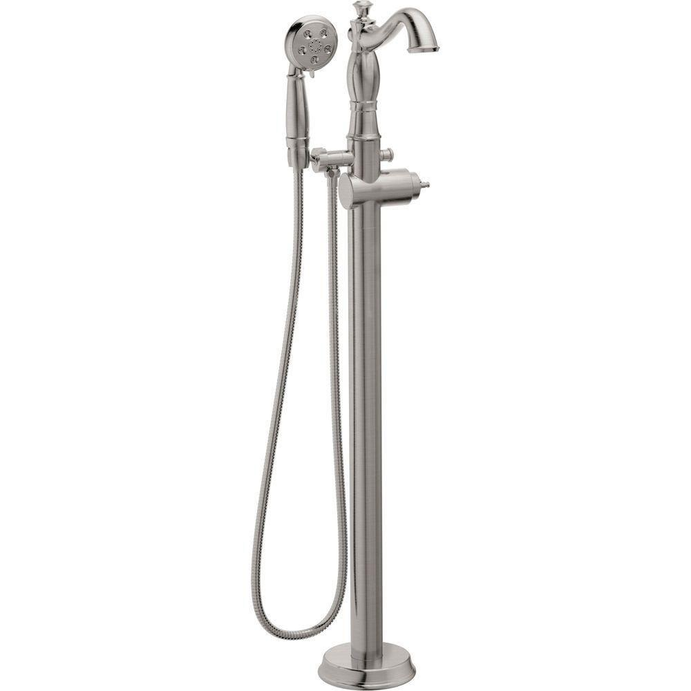 Delta Cassidy 1-Handle Floor-Mount Roman Tub Faucet Trim Kit with H2Okinetic Handshower in Stainless Steel Finish (Valve Not Included) 702306