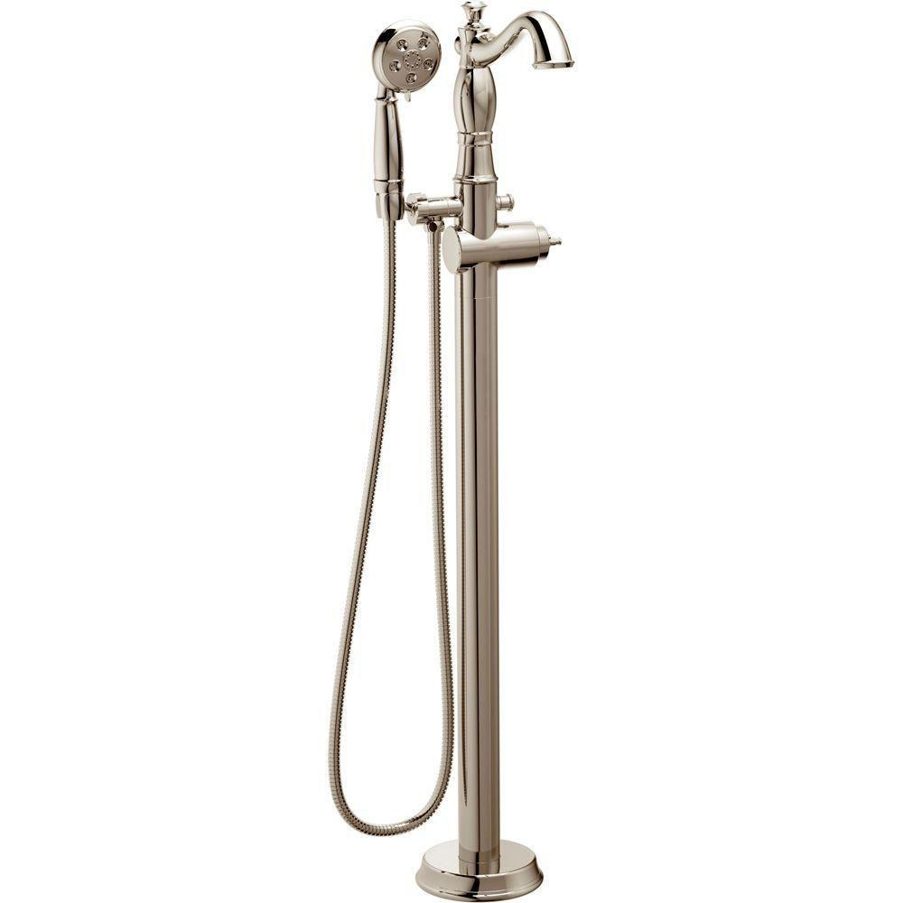 Delta Cassidy 1-Handle Floor-Mount Roman Tub Faucet Trim Kit in Polished Nickel (Valve Not Included) 702308