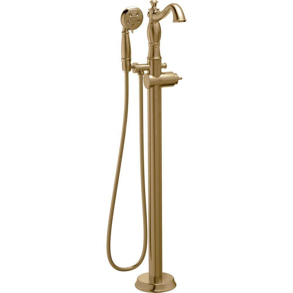 Delta Cassidy 1-Handle Floor-Mount Roman Tub Faucet Trim Kit in Champagne Bronze (Valve Not Included) 702312