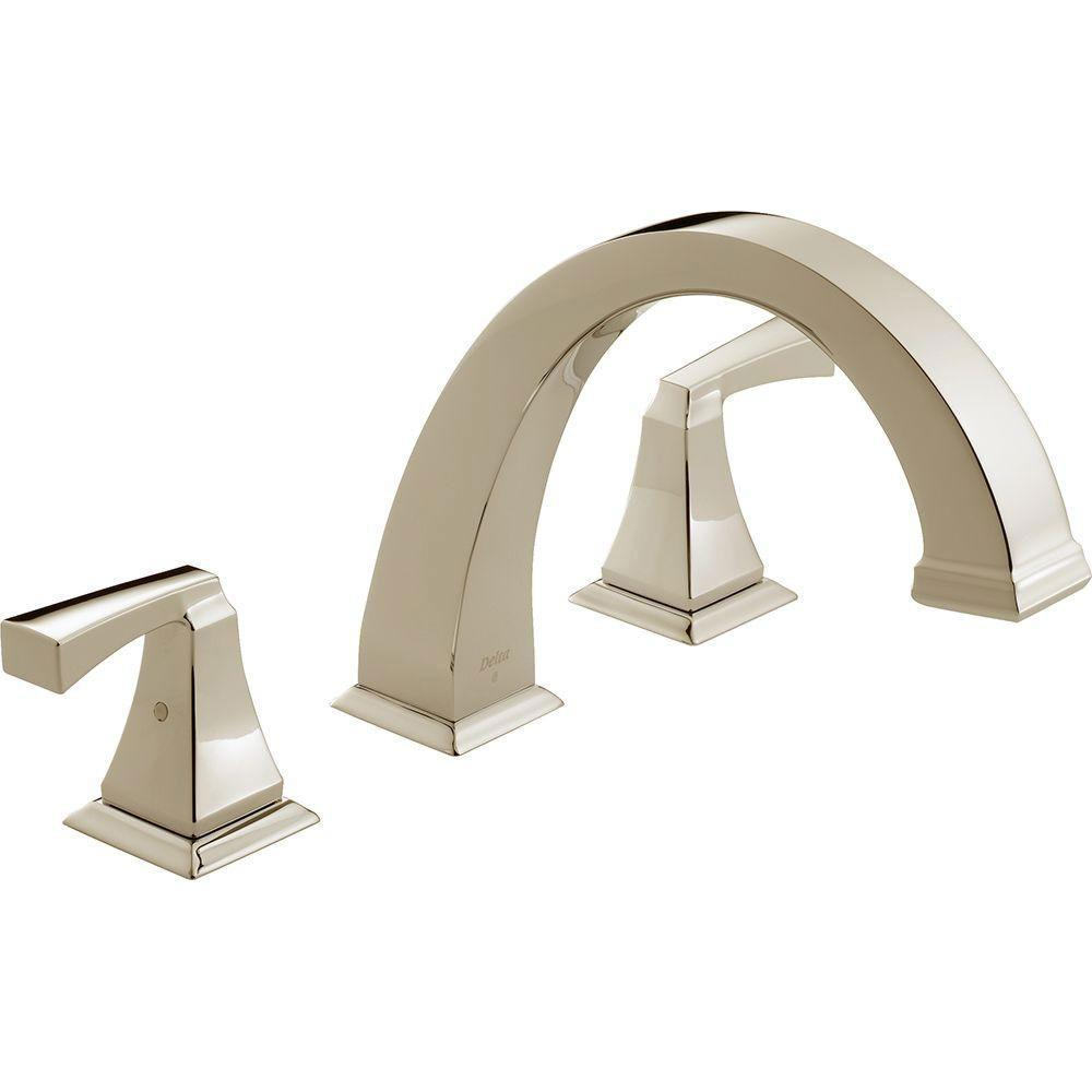 Delta Dryden 2-Handle Deck-Mount Roman Tub Faucet Trim Kit in Polished Nickel (Valve Not Included) 702336