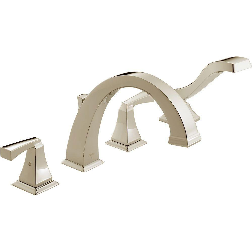 Delta Dryden 2-Handle Deck-Mount Roman Tub Faucet with Handshower Trim Kit in Polished Nickel (Valve Not Included) 702338