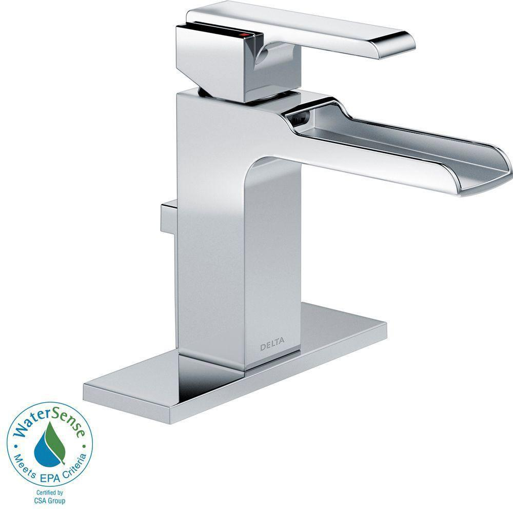 Delta Ara Single Hole 1-Handle Open Channel Spout Bathroom Faucet in Chrome with Metal Pop-up 704307