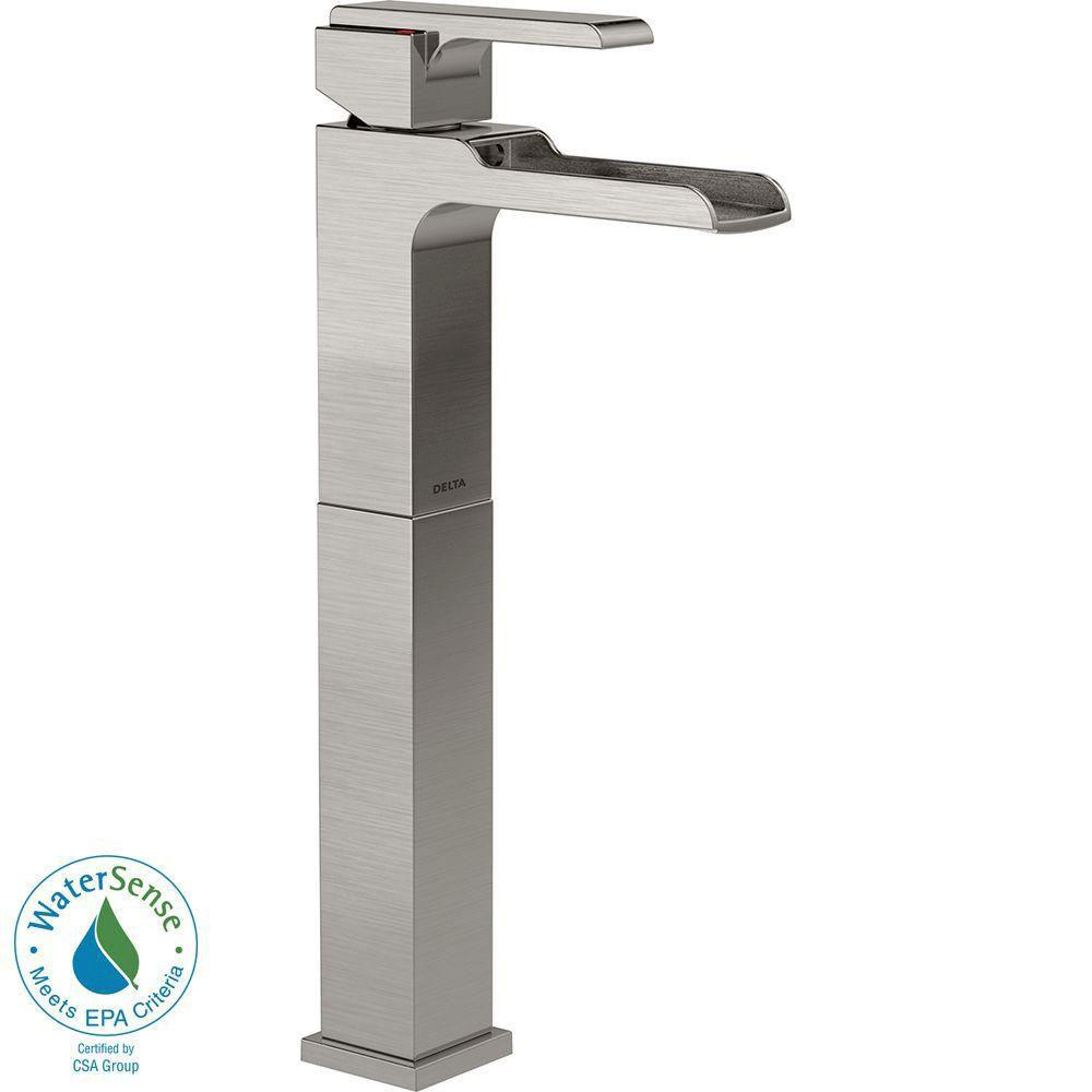 Delta Ara Single Hole 1-Handle Open Channel Spout Vessel Sink Bathroom Faucet in Stainless 704315