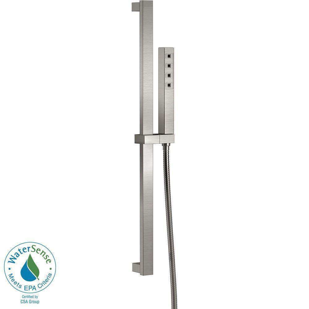 Delta Ara 1-Spray Handshower with Slide Bar in Stainless Featuring H2Okinetic 704319