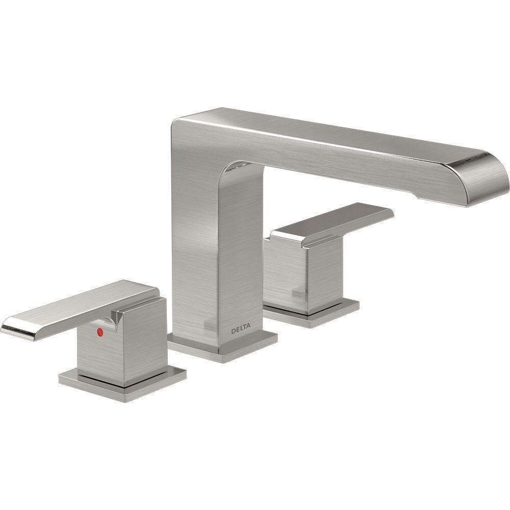 Delta Ara 2-Handle Deck-Mount Roman Tub Faucet Trim Kit in Stainless (Valve Not Included) 704320