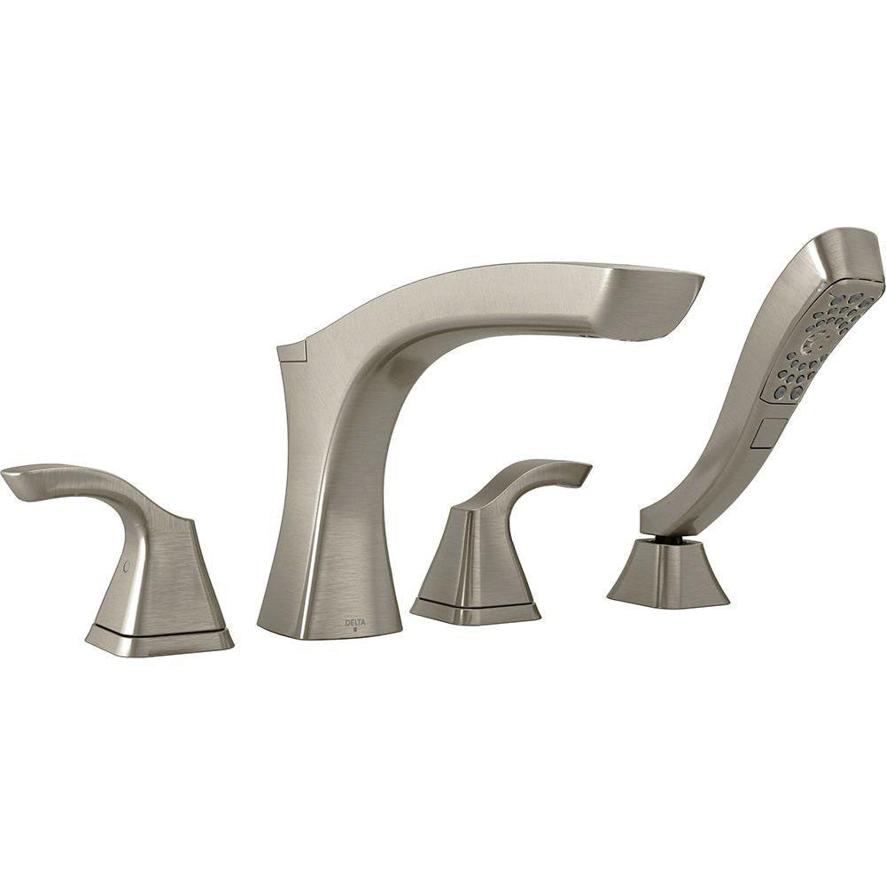 Delta Tesla 2-Handle Deck-Mount Roman Tub Faucet with Handshower in Stainless Steel Finish Includes Rough-in Valve D2573V