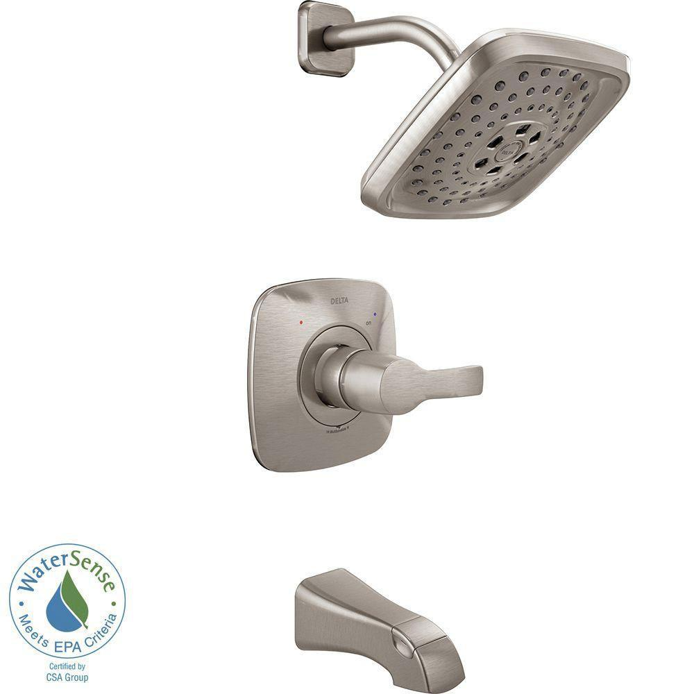 Delta Tesla H2Okinetic 1-Handle Tub and Shower Faucet Trim Kit in Stainless (Valve Not Included) 718209