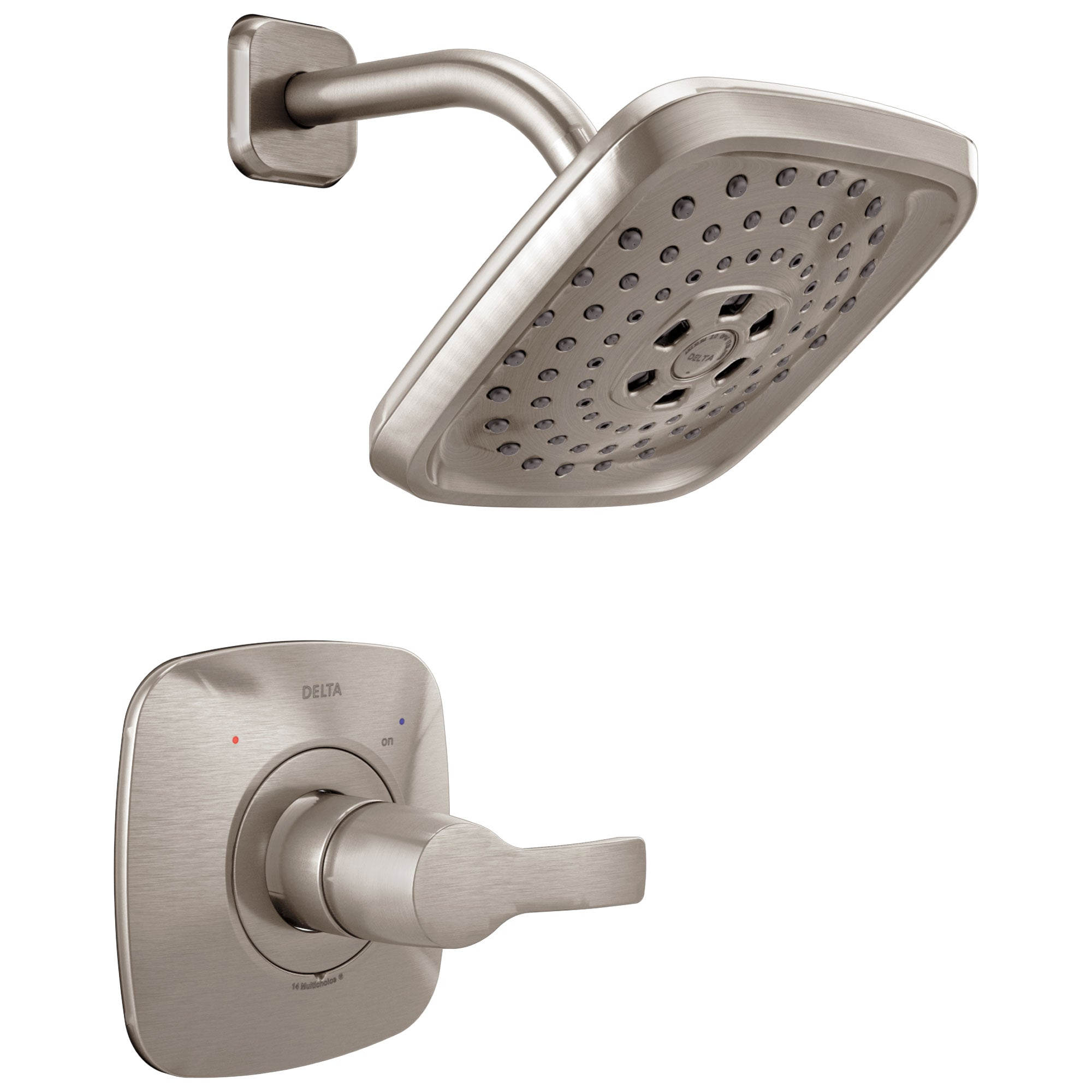 Delta Tesla H2Okinetic 1-Handle Shower Faucet in Stainless Steel Finish Includes Rough-in Valve with Stops D2585V