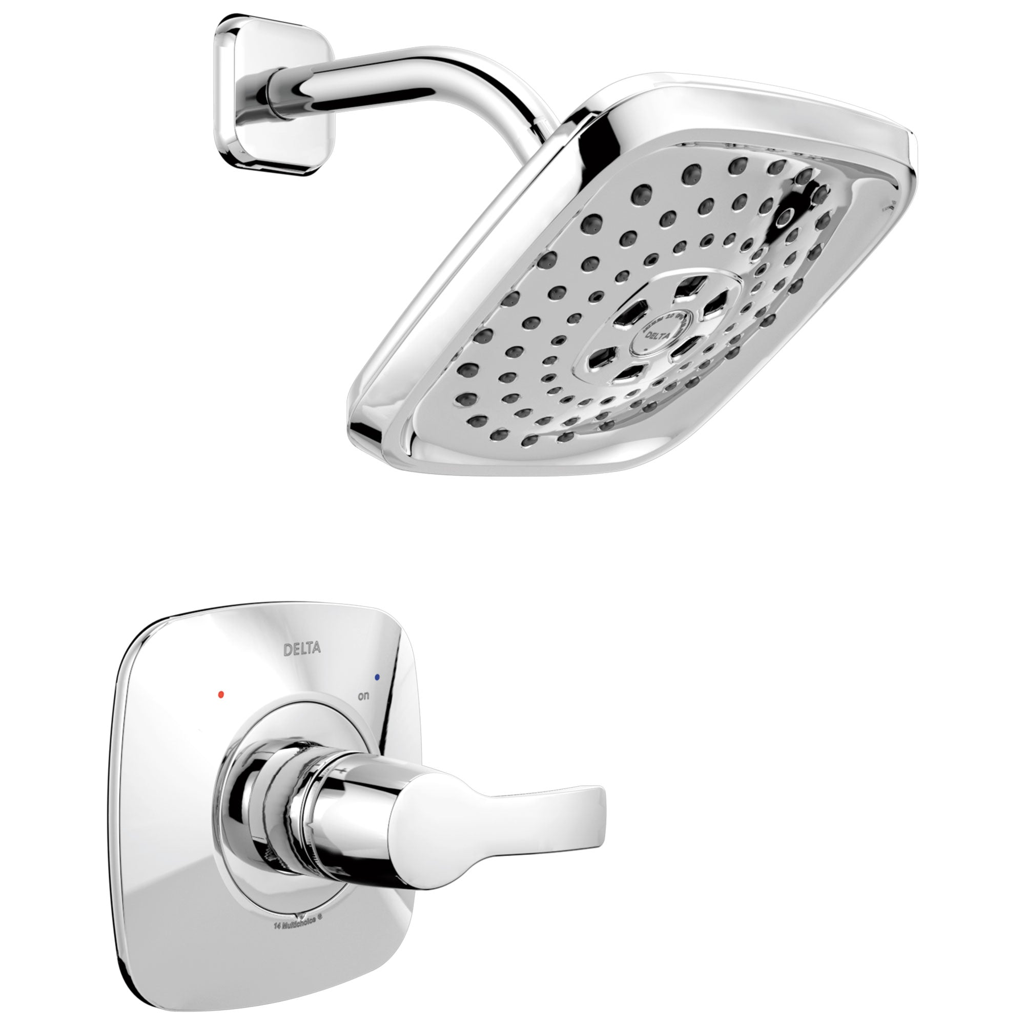 Delta Tesla H2Okinetic 1-Handle Shower Faucet in Chrome Includes Rough-in Valve with Stops D2589V