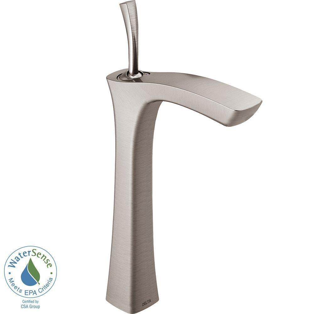Delta Tesla Single Hole 1-Handle Vessel Bathroom Faucet in Stainless 718234