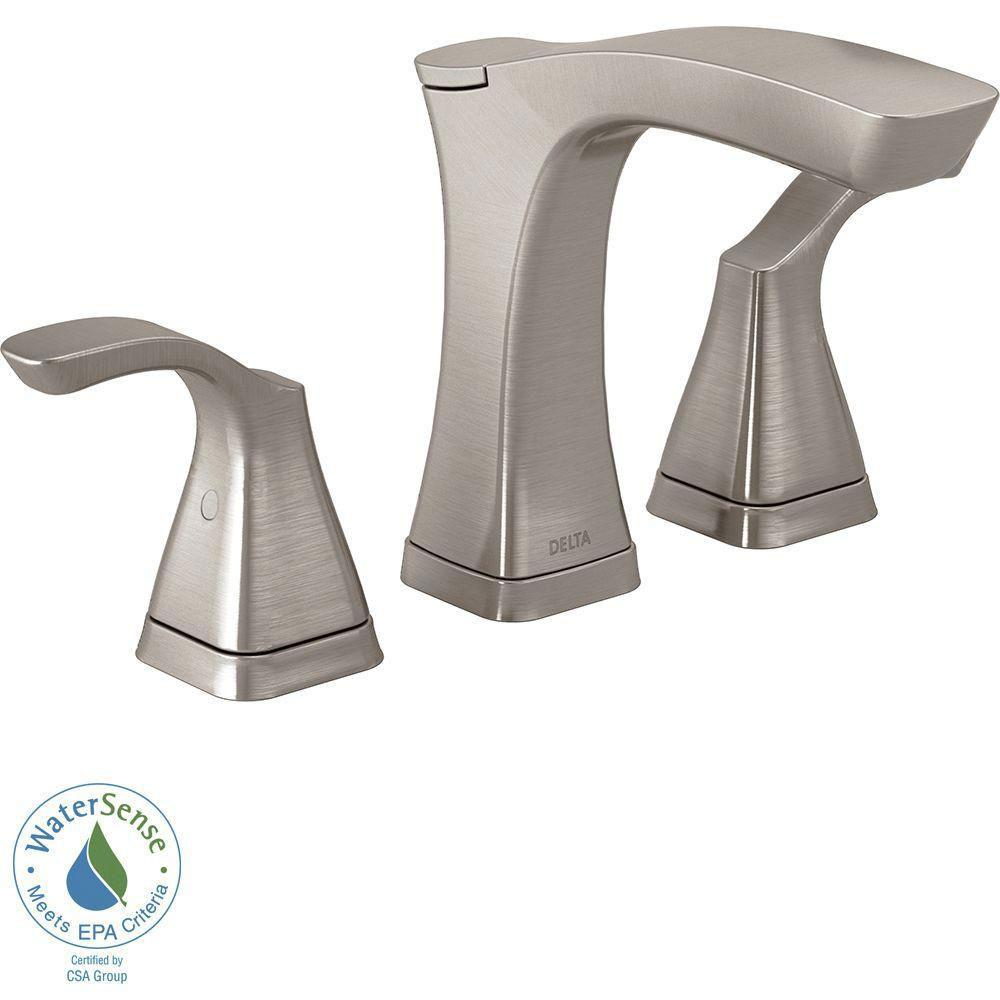 Delta Tesla 8 inch Widespread 2-Handle Bathroom Faucet in Stainless with Metal Drain Assembly 718248