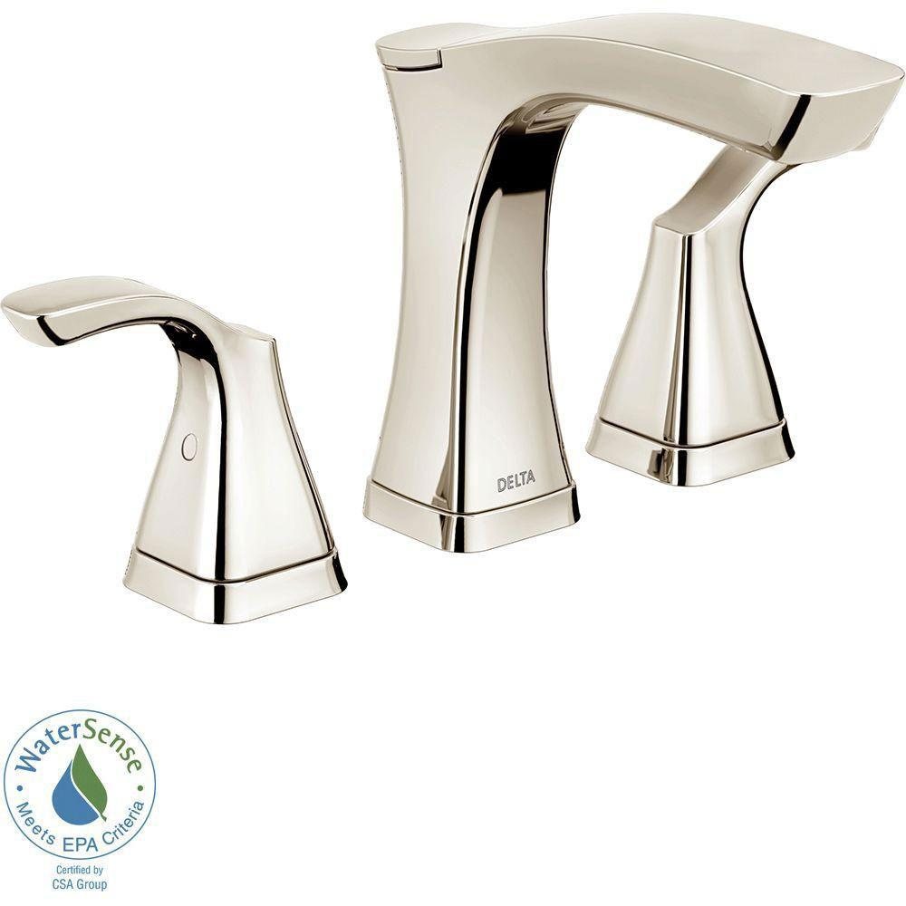 Delta Tesla 8 inch Widespread 2-Handle Bathroom Faucet in Polished Nickel with Metal Drain Assembly 718250