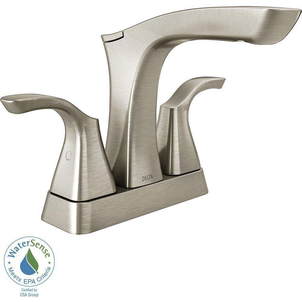 Delta Tesla 4 inch Centerset 2-Handle Bathroom Faucet in Stainless with Metal Drain Assembly 718252
