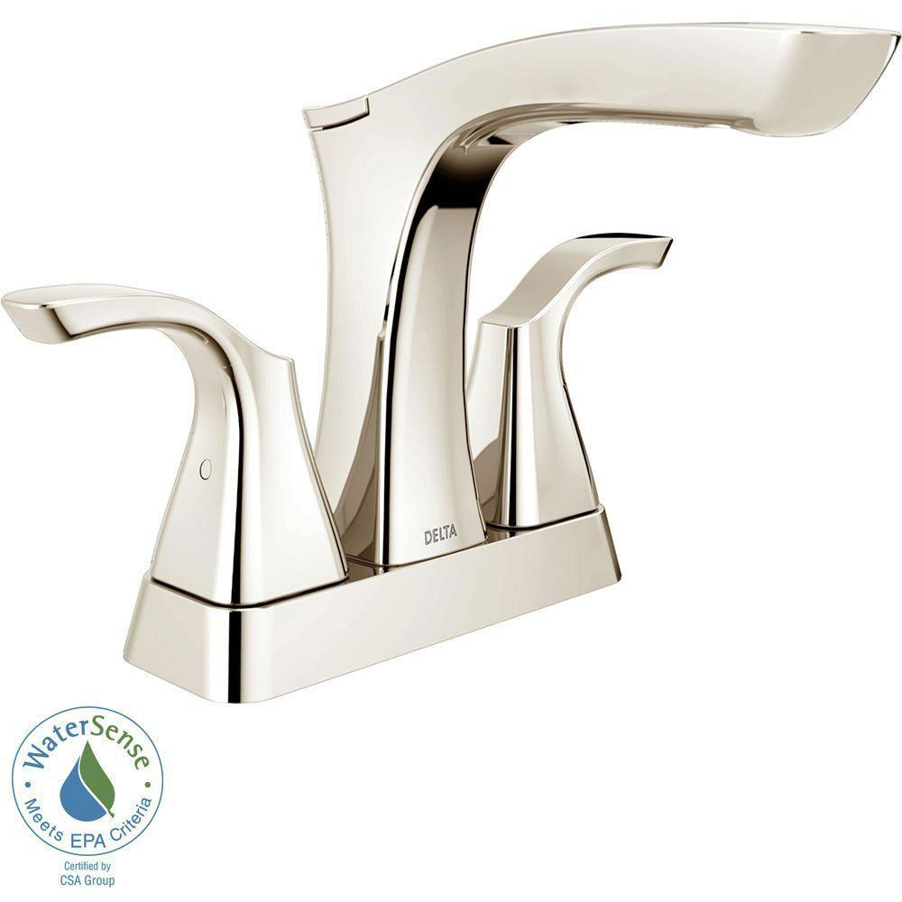 Delta Tesla 4 inch Centerset 2-Handle Bathroom Faucet in Polished Nickel with Metal Drain Assembly 718253