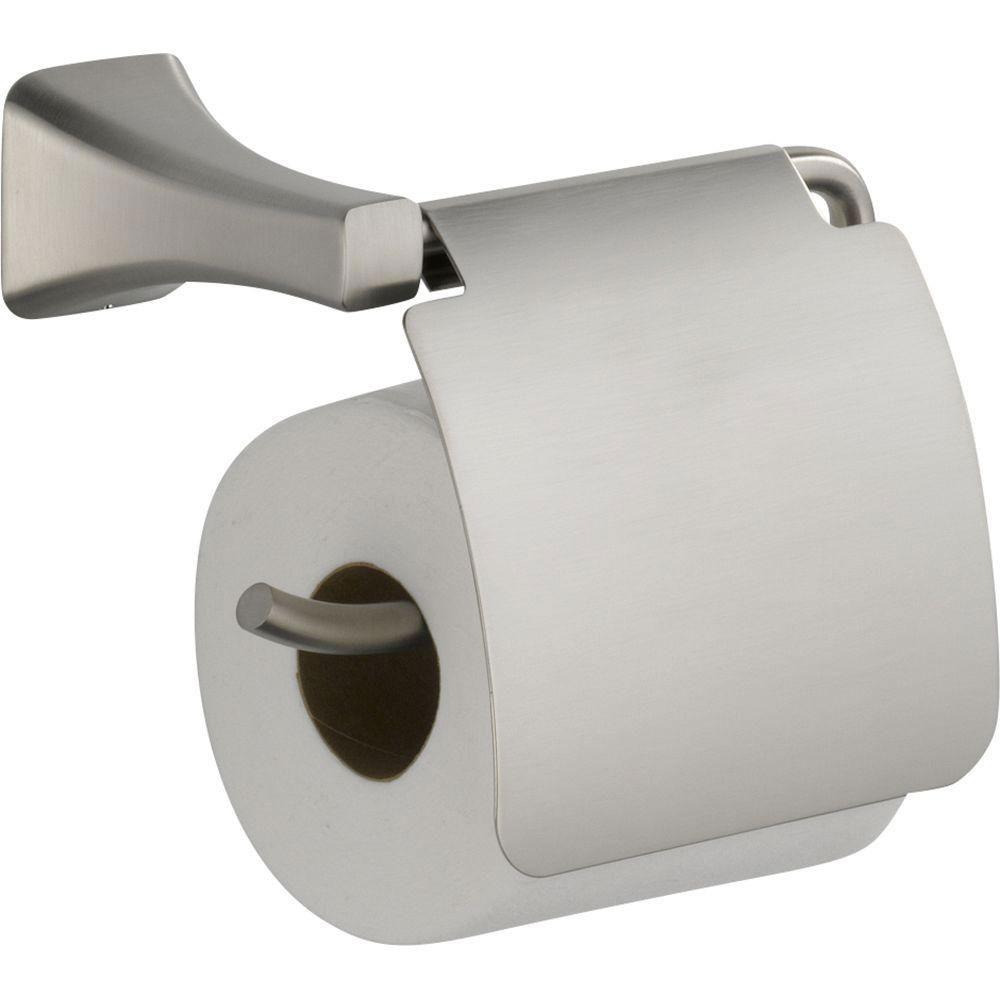 Delta Tesla Single Post Roll Toilet Paper Holder in Stainless with Removable Cover 718254