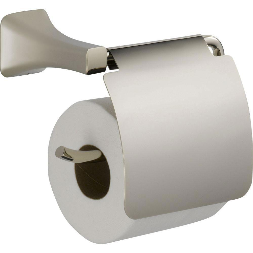 Delta Tesla Single Post Roll Toilet Paper Holder in Polished Nickel with Removable Cover 718256