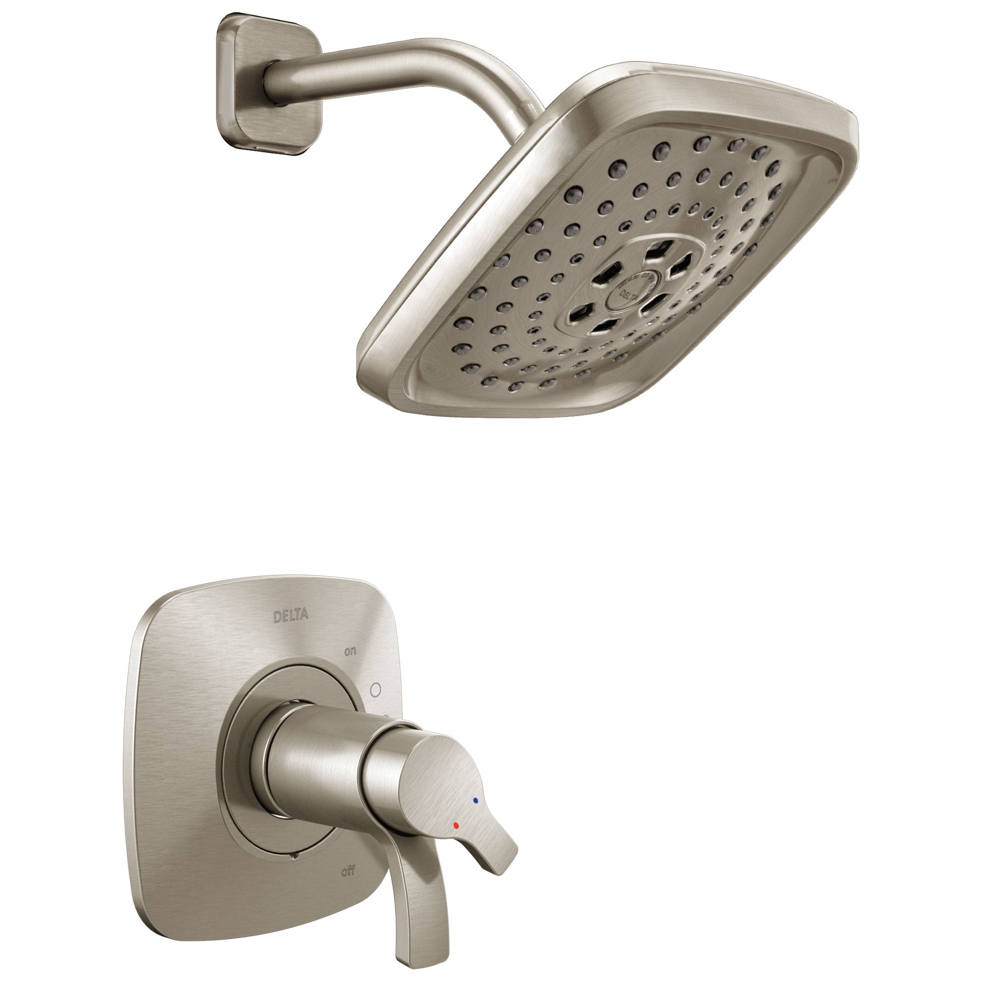 Delta Tesla H2Okinetic 1-Handle Shower Faucet in Stainless Steel Finish Includes Rough-in Valve with Stops D2591V