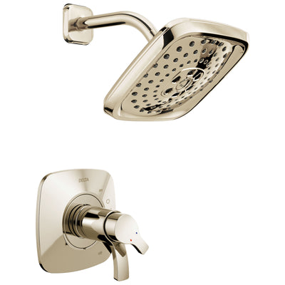 Delta Tesla H2Okinetic 1-Handle Shower Faucet in Polished Nickel Includes Rough-in Valve with Stops D2593V