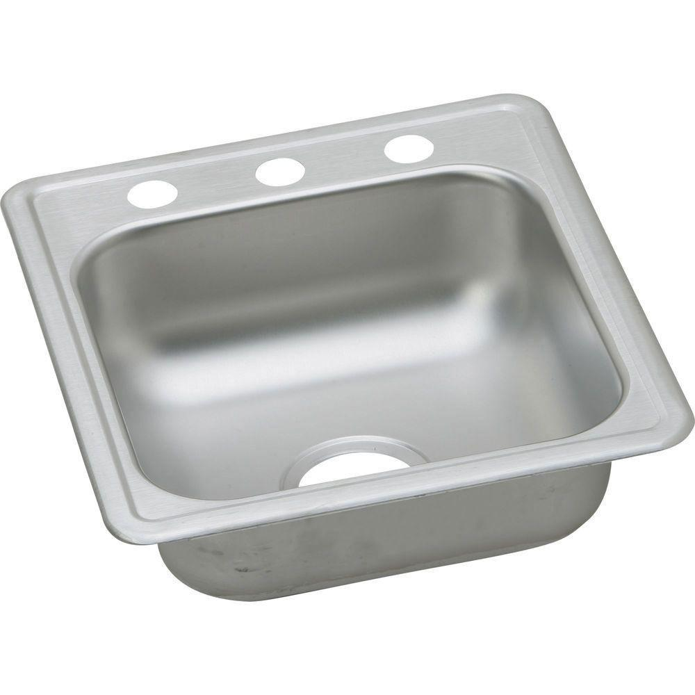 Elkay Dayton Top Mount Stainless Steel 17x19x6.13 3-Hole Single Bowl Bar Sink in Satin 134676