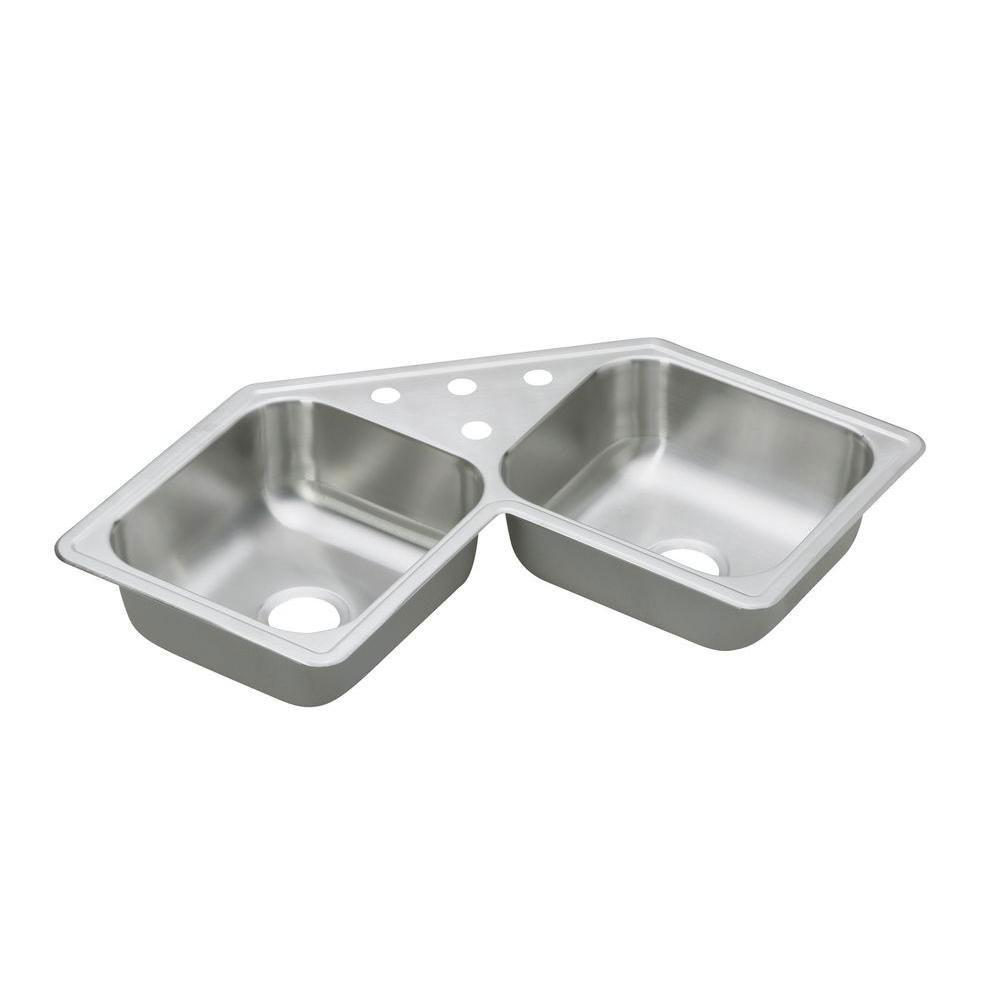 Elkay Dayton Top Mount Stainless Steel 31-7/8x31-7/8x7 3-Hole Double Bowl Kitchen Sink 140984