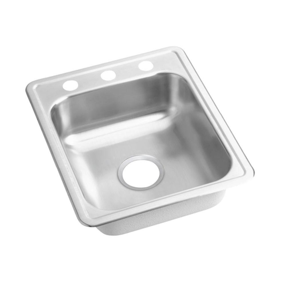 Elkay Dayton Top Mount Stainless Steel 21-1/4x17x6-1/2 inch 3-Hole Single Bowl Kitchen Sink 142740