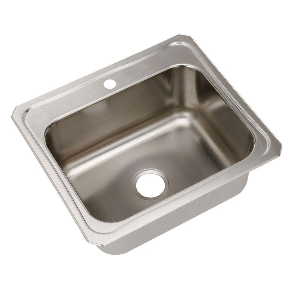 Elkay Celebrity Top Mount Stainless Steel 25x22x10.25 1-Hole Single Bowl Kitchen Sink 165241