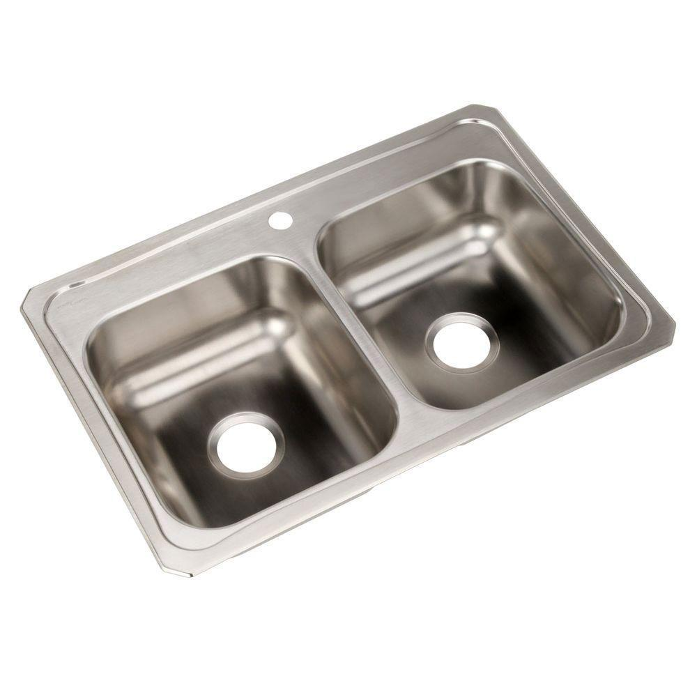 Elkay Celebrity Top Mount Stainless Steel 33x22x7 1-Hole Double Bowl Kitchen Sink 212069