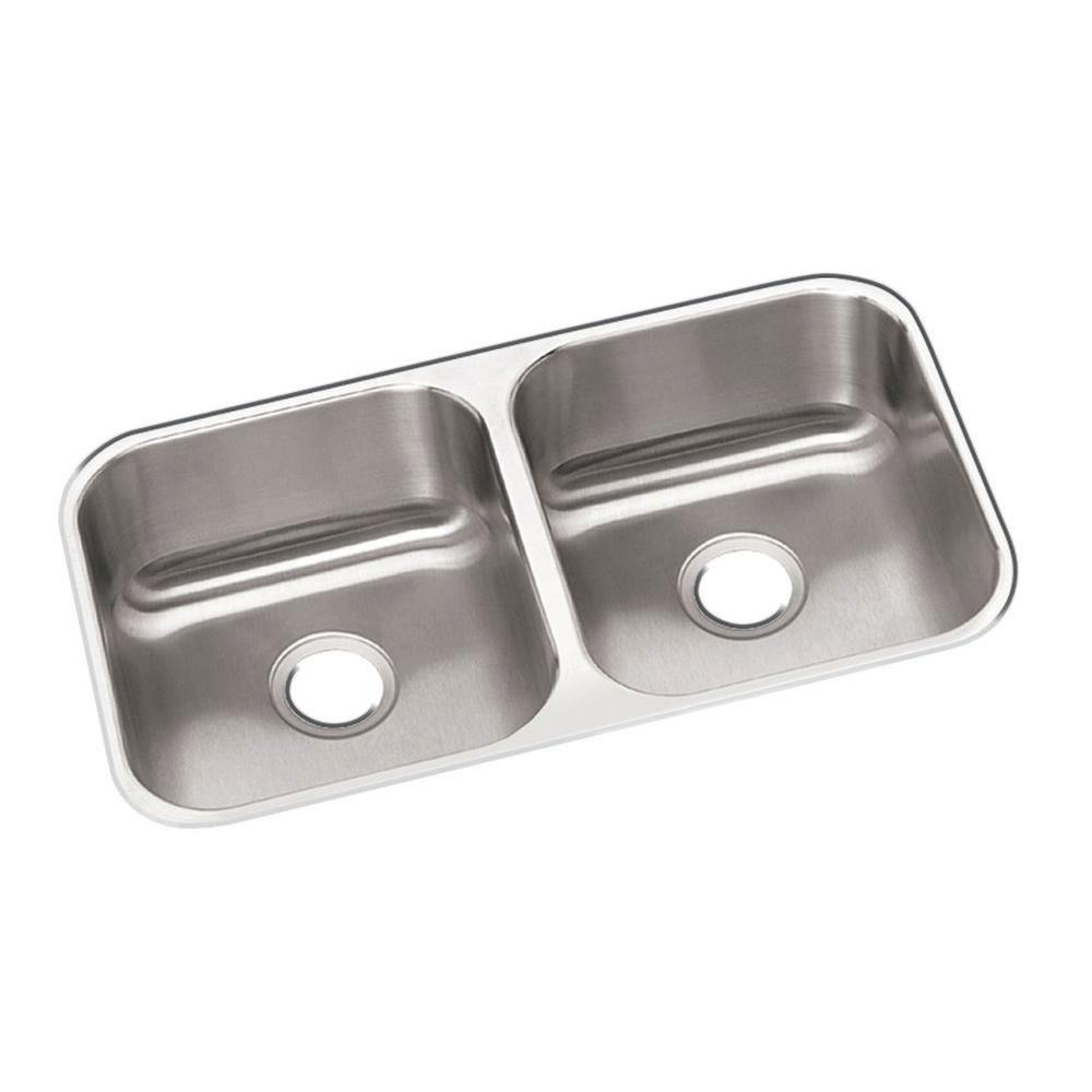 Elkay Dayton Undermount Sink Stainless Steel 17-3/4x31-1/4x8 0-Hole Double Bowl Kitchen Sink in Stainless Steel 242557