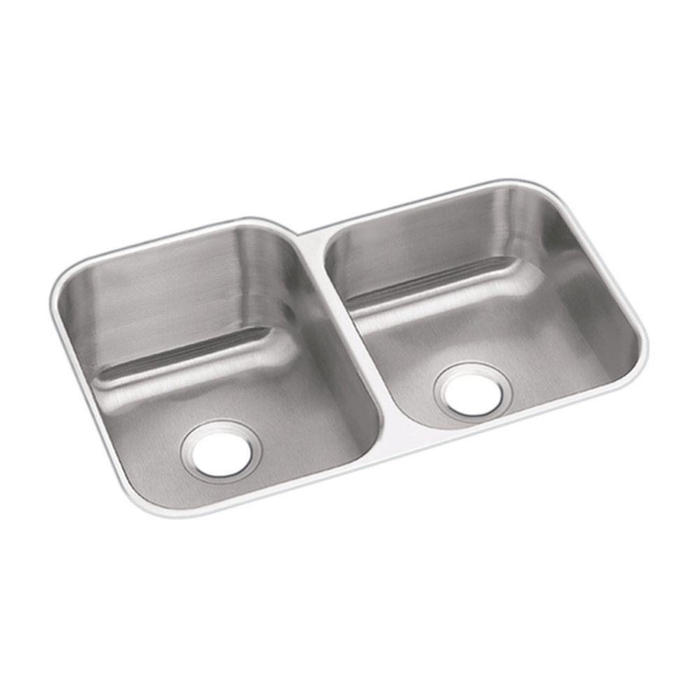 Elkay Dayton Undermount Sink Stainless Steel 20-1/2x31-1/4x8 0-Hole Double Bowl Kitchen Sink in Stainless Steel 242561