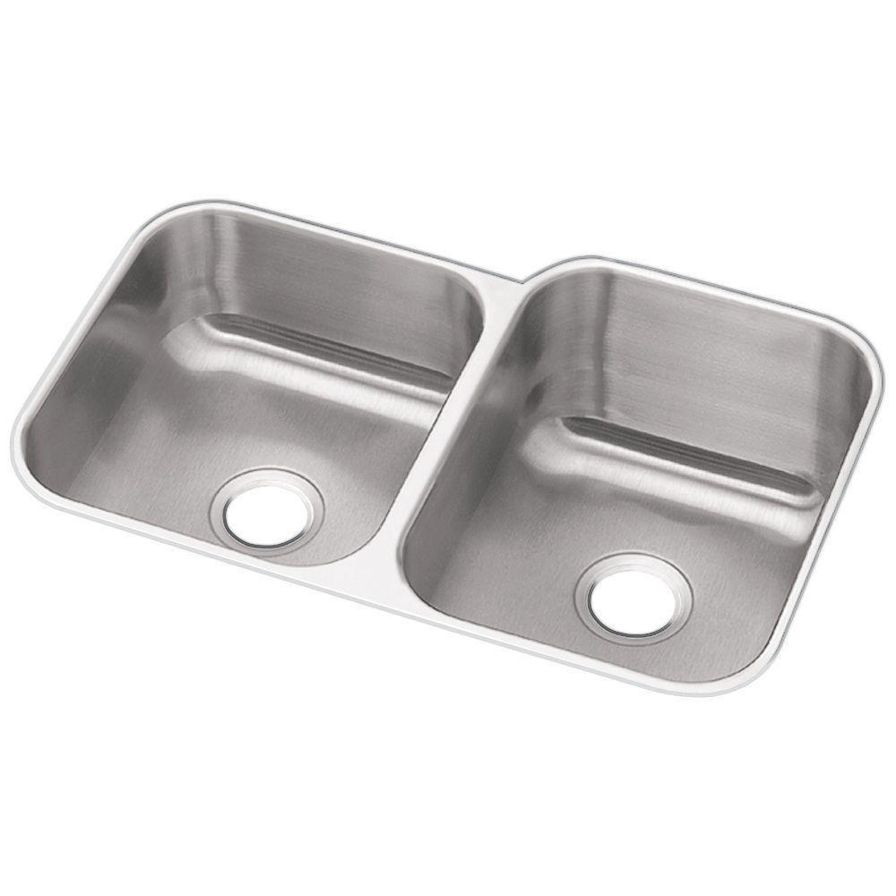 Elkay Dayton Under Mount Stainless Steel 31.75x20.5x10 0-Hole Double Bowl Kitchen Sink in Radiant Satin 242569