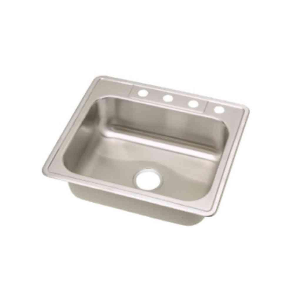 Superbe Elkay Dayton Top Mount Stainless Steel 25x22x8 1/6 4 Hole Single Bowl