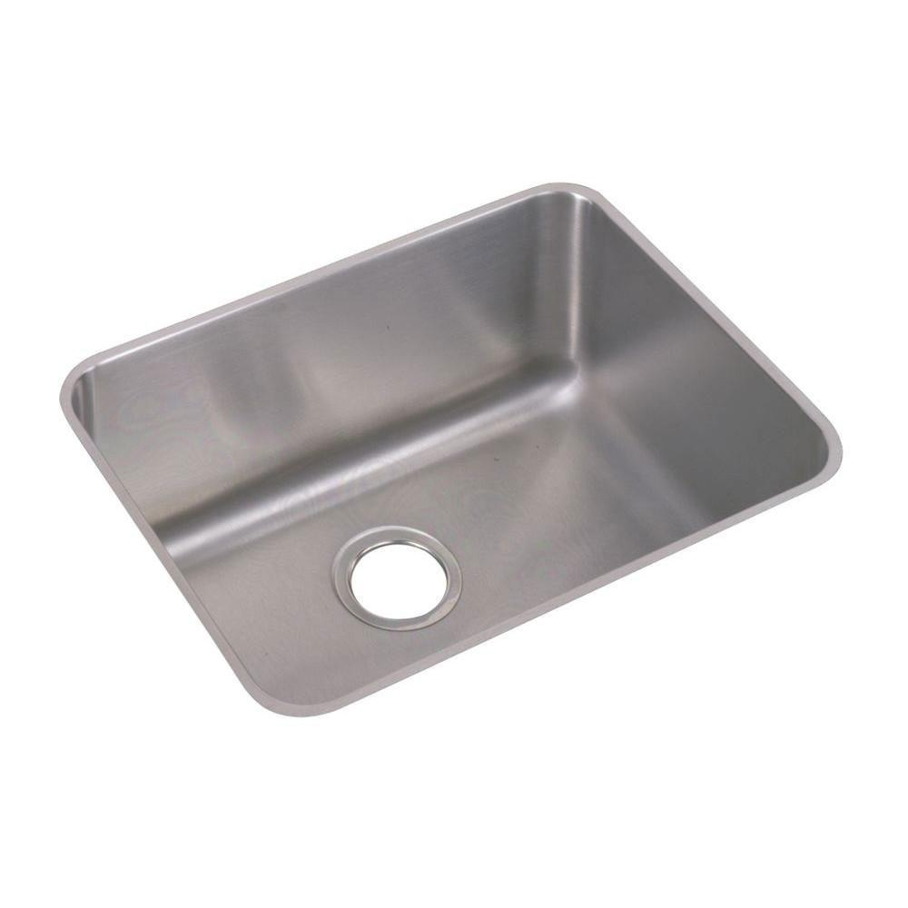 Elkay Lustertone Undermount Stainless Steel 23-1/2x18-1/4x10 0-Hole Single Bowl Kitchen Sink in Satin 301321