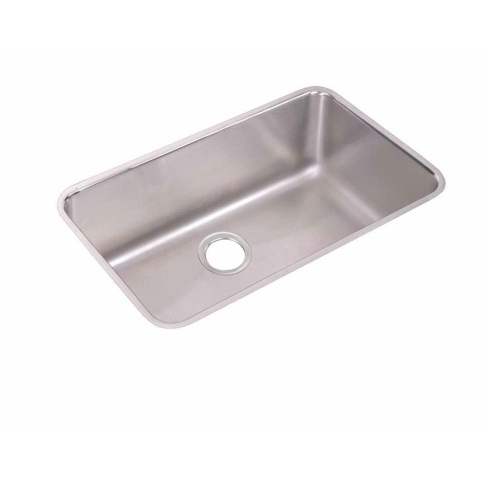Elkay Lustertone Undermount Stainless Steel 30.5x18.5x10 0-Hole Single Bowl Kitchen Sink in Satin 301341