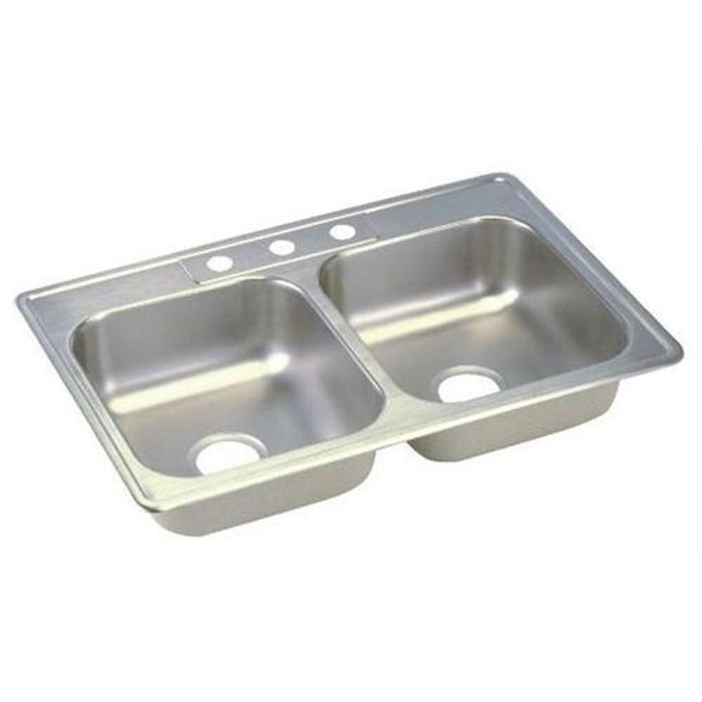 Elkay Dayton Top Mount Stainless Steel 25x19x6.25 3-Hole Double Bowl Kitchen Sink 301841