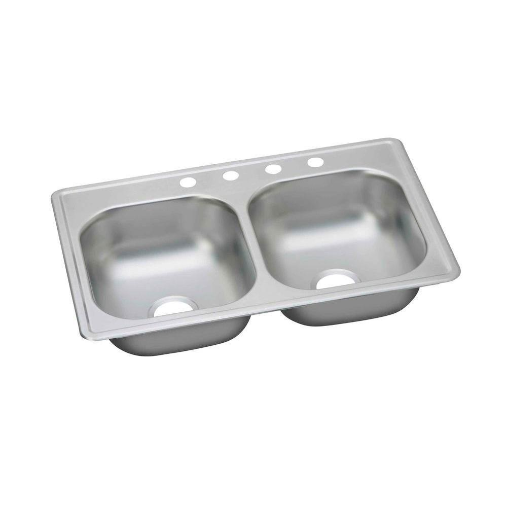 Elkay Dayton Top Mount Stainless Steel 33x19x6-7/16 4-Hole Double Bowl Kitchen Sink 301853