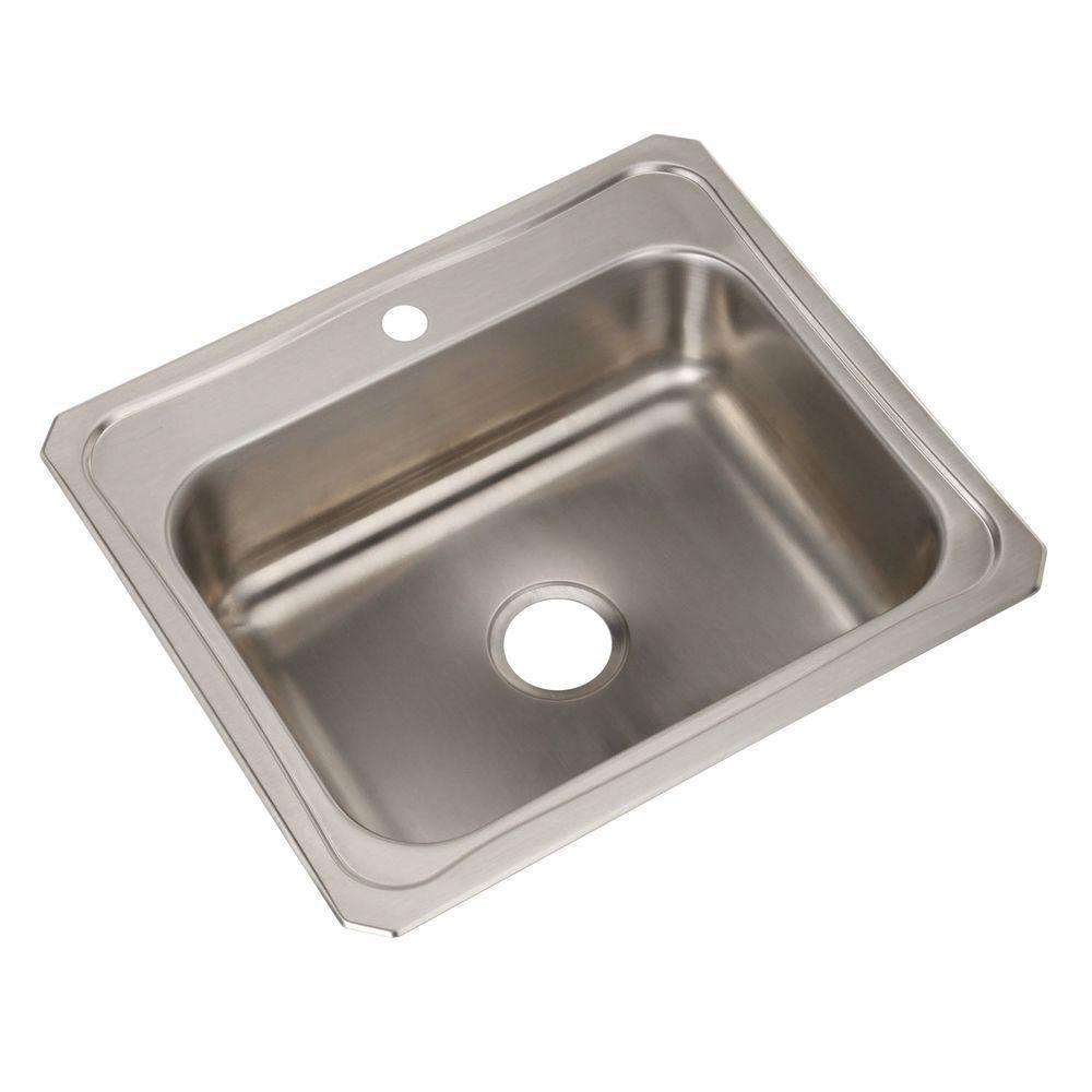 Elkay Celebrity Top Mount Stainless Steel 25x22x7 1-Hole Single Bowl ...