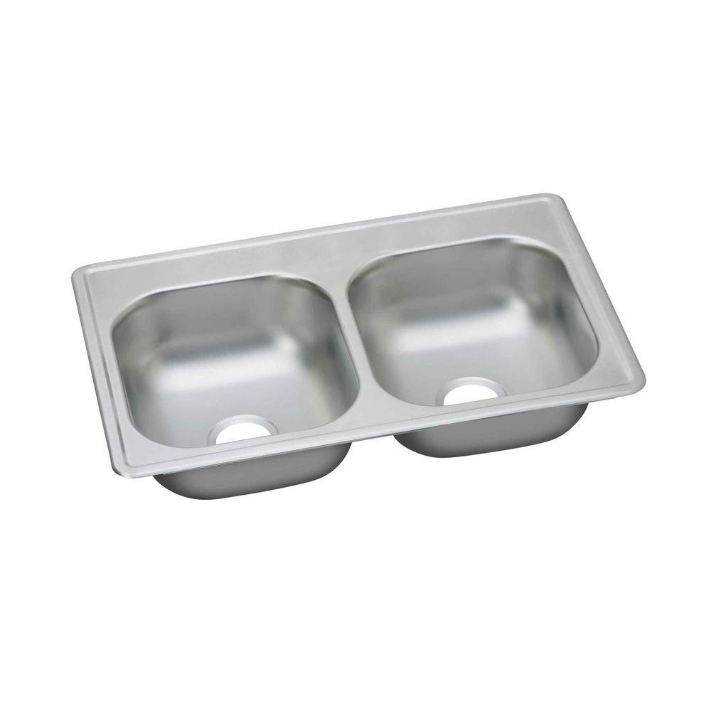 Elkay Dayton Top Mount Stainless Steel 33X17X6 0-Hole Double Bowl Kitchen Sink 307233