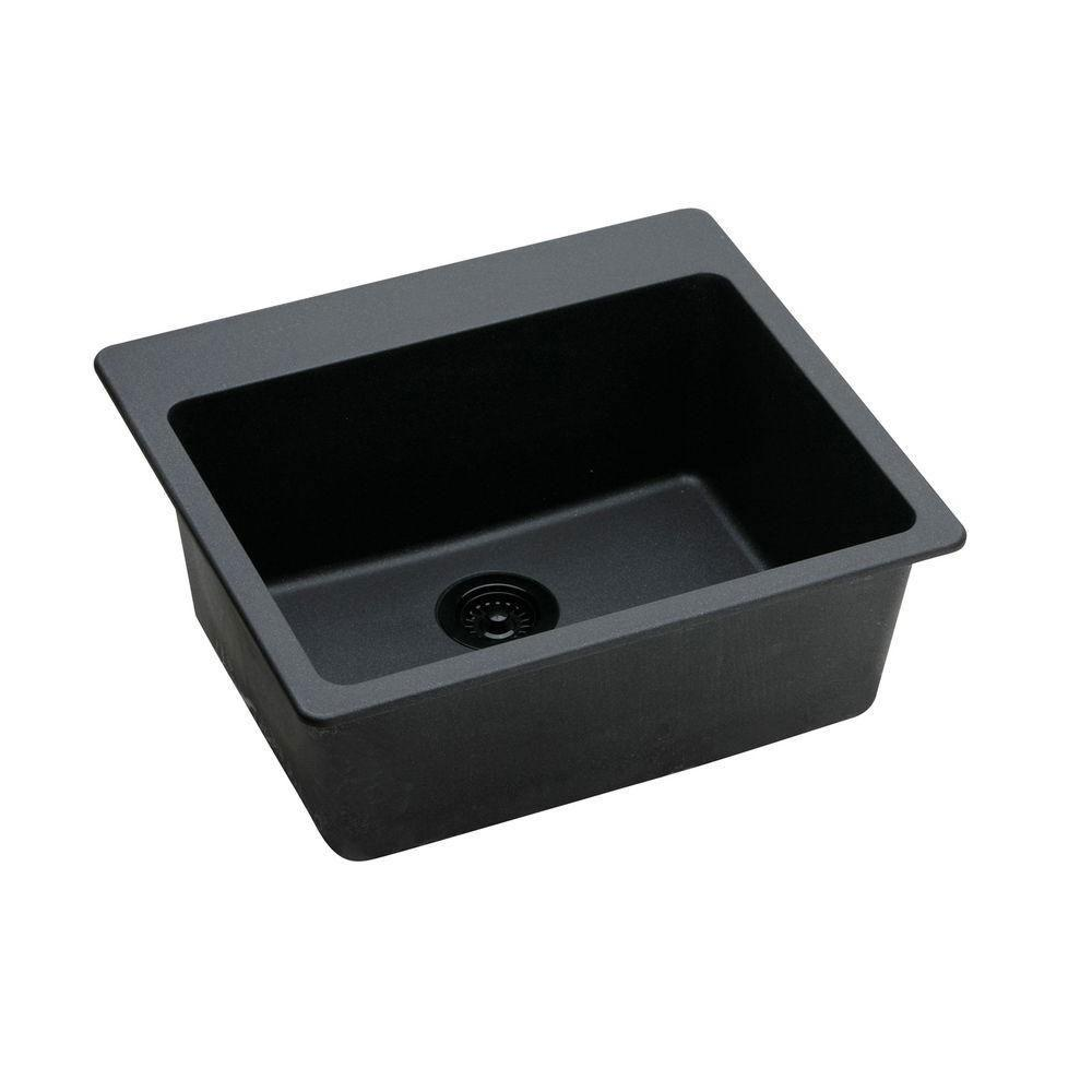 Elkay Gourmet Top Mount Granite 25x22x9.5 0-Hole Single Bowl Kitchen Sink in Black 441857