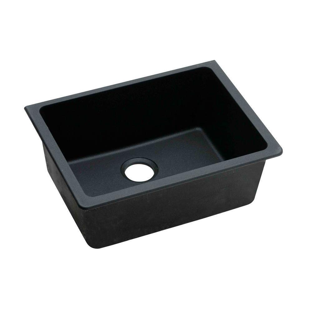 Elkay Gourmet Undermount E-Granite 25x18.5x9.5 0-Hole Single Bowl Kitchen Sink in Black 445133