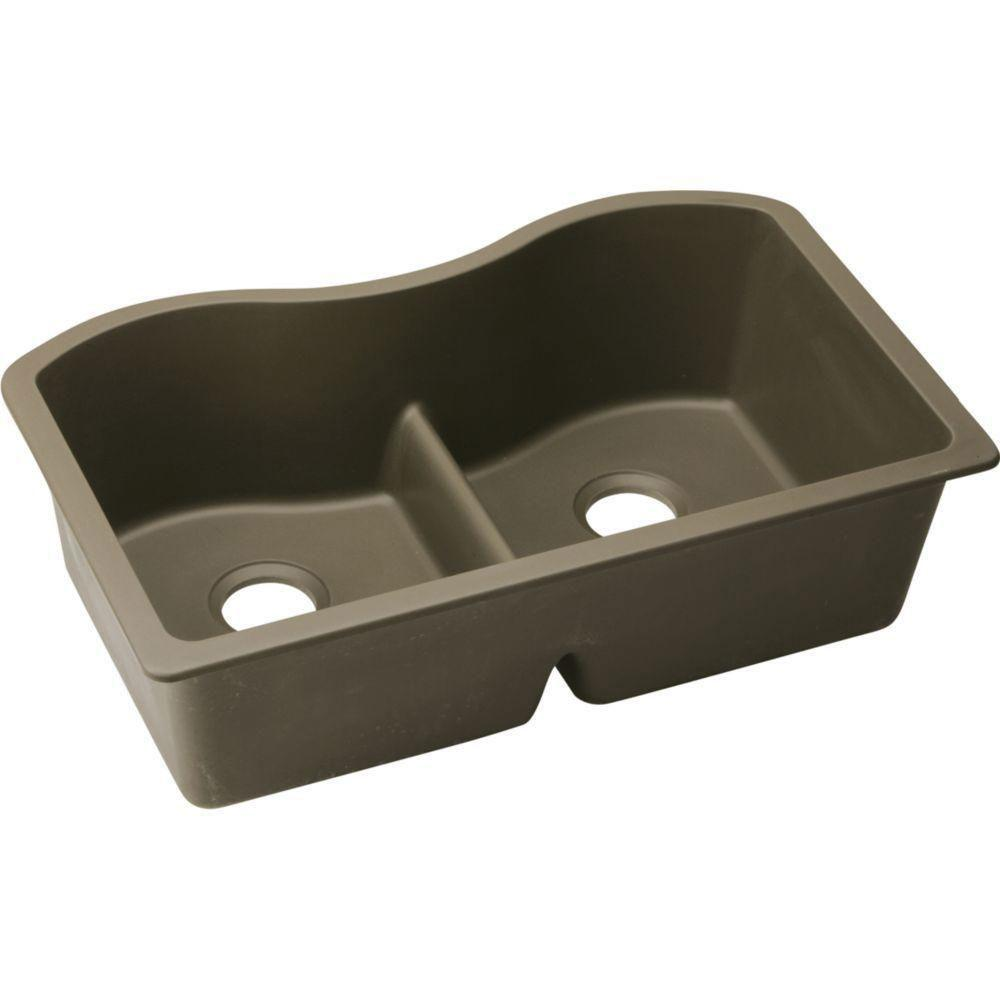 Elkay Harmony Undermount E-Granite 33x9.5x20.13 0-Hole Double Bowl Kitchen Sink in Mocha 467126