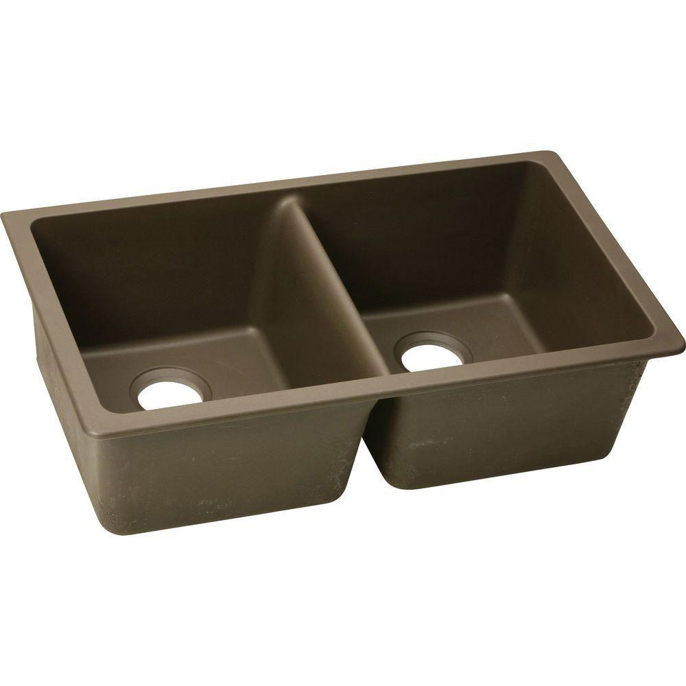 Elkay Gourmet Undermount E-Granite 33x20.5x9.5 0-Hole Double Bowl Kitchen Sink in Mocha 467151