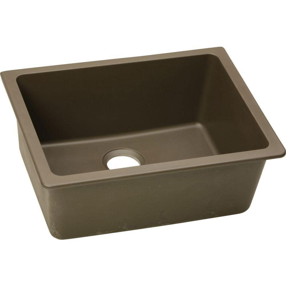 Elkay Gourmet Undermount E-Granite 25x18.5x9.5 0-Hole Single Bowl Kitchen Sink in Mocha 467152