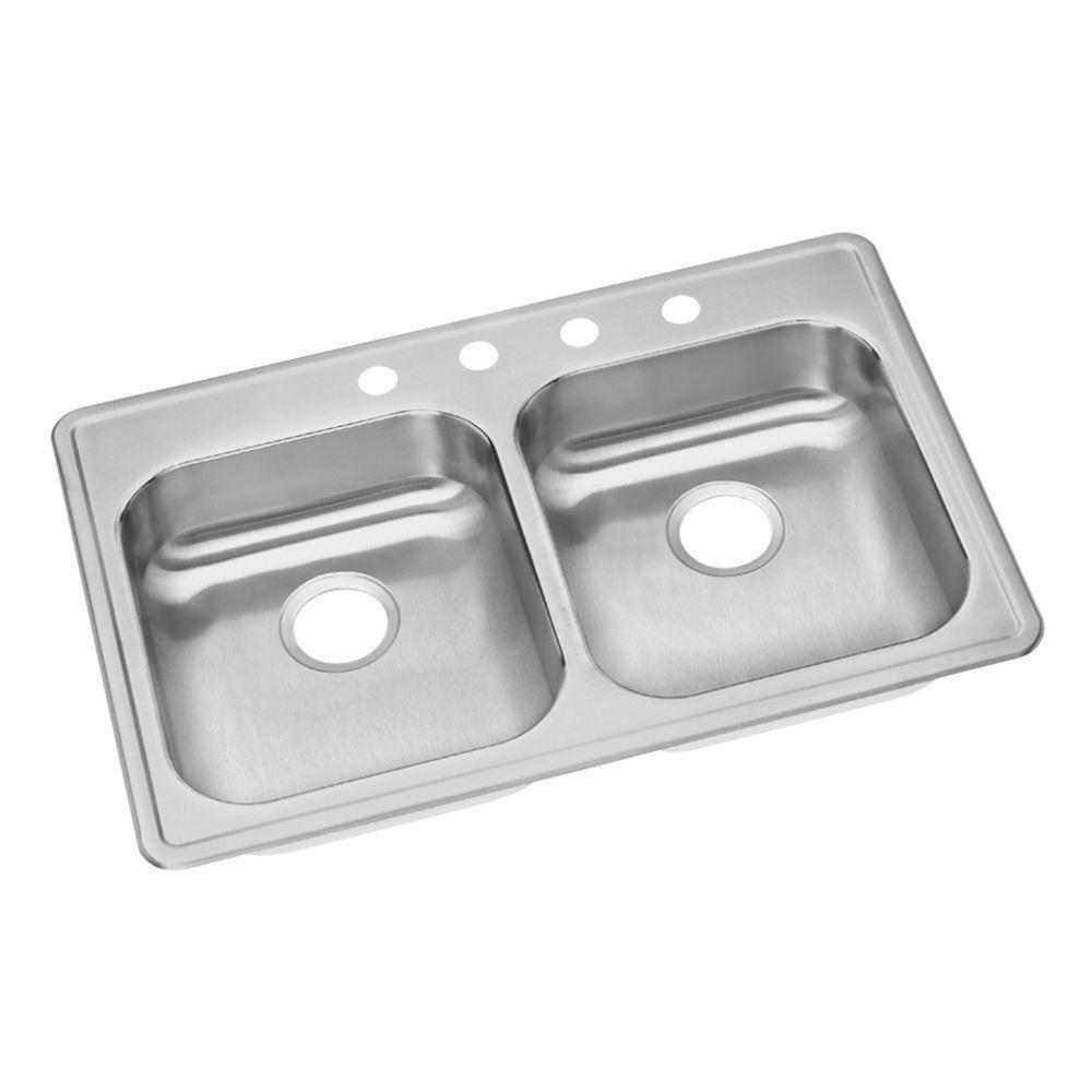 Elkay Dayton Top Mount Stainless Steel 21.25x5.375x33 4-Hole Double Bowl Kitchen Sink in Polished Satin Finish 467170