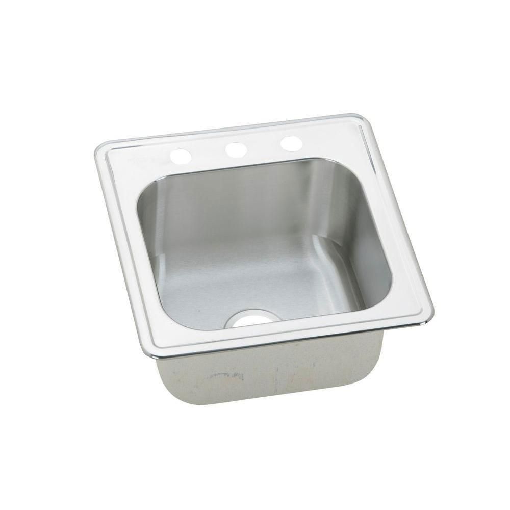 Elkay Elite Top Mount Stainless Steel 20x20x10.125 3-Hole Single Bowl Sink 484381