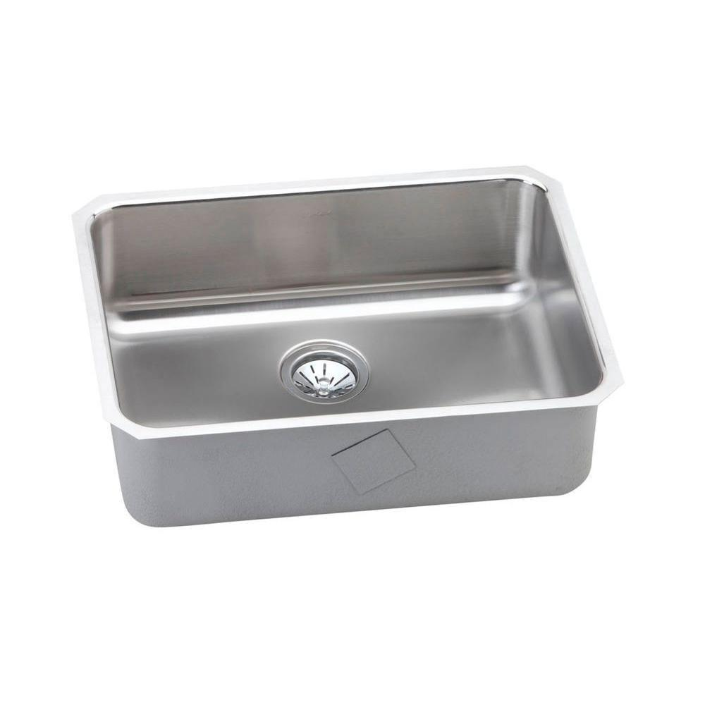 Elkay Gourmet Lustertone Stainless Steel 25x18.75x8 0-Hole Single Bowl Kitchen Sink in Satin 541270
