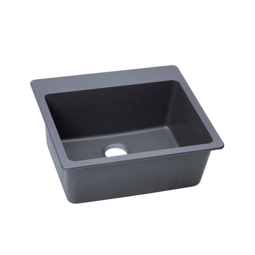 Elkay Gourmet Top Mount Granite 22x25x9.5 0-Hole Single Bowl Kitchen Sink in Dusk Gray 541467