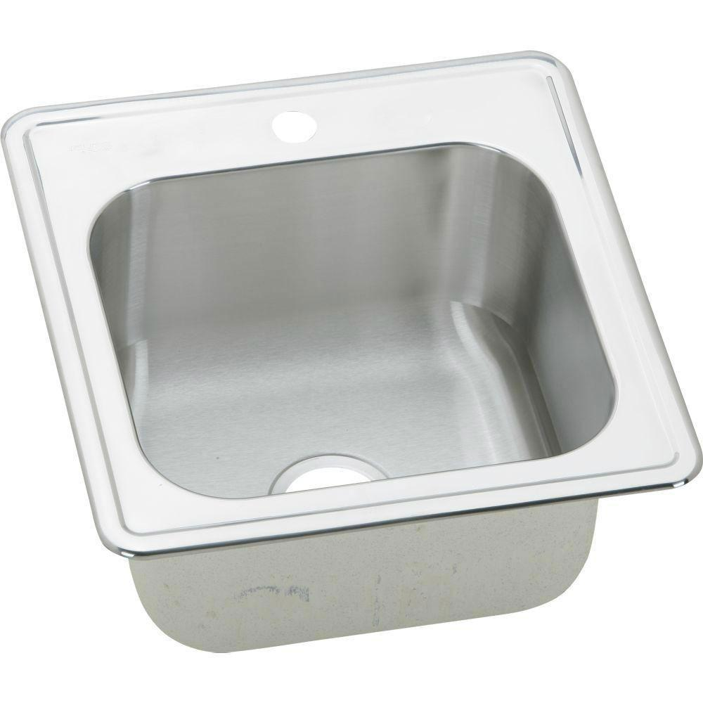 Elkay Gourmet Top Mount Stainless Steel 20 inch 1-Hole Single Bowl Kitchen Sink in Brushed Satin 549146