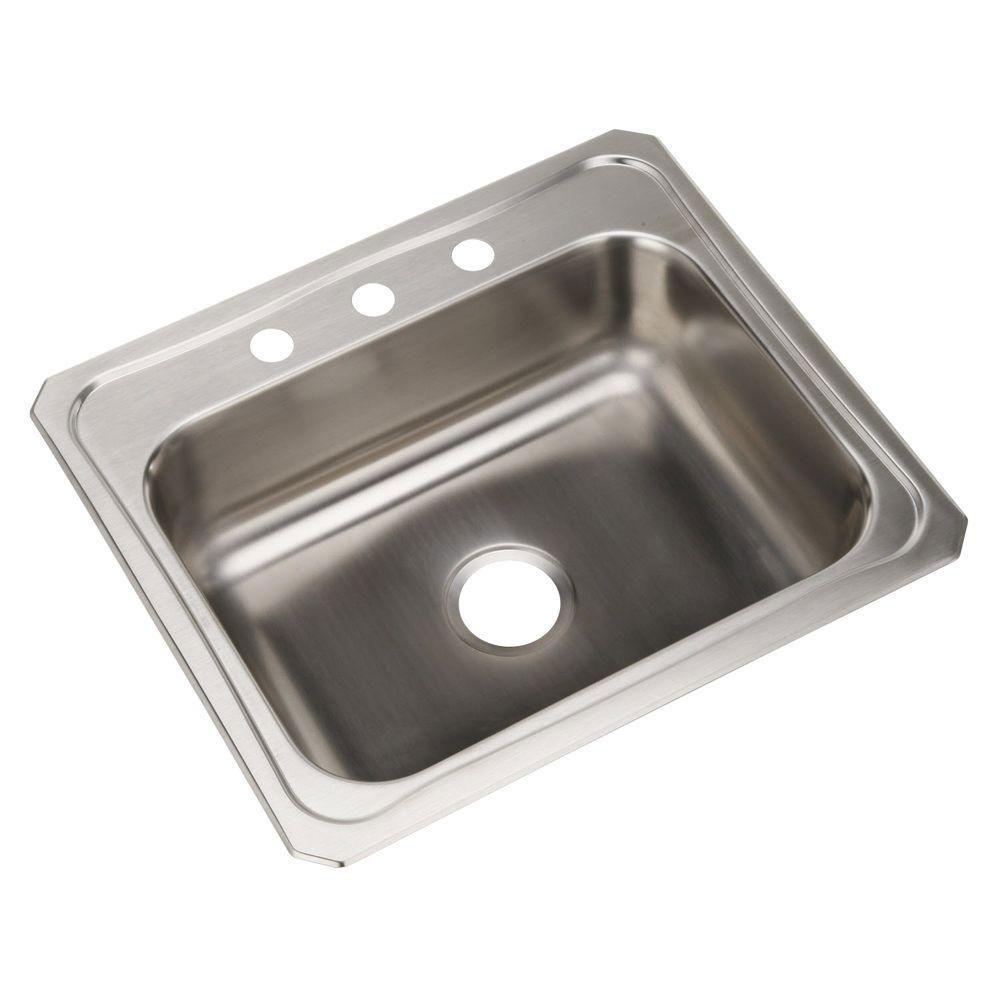 Elkay Celebrity Top Mount Stainless Steel 25x22x7 3-Hole Single Bowl  Kitchen Sink 708169