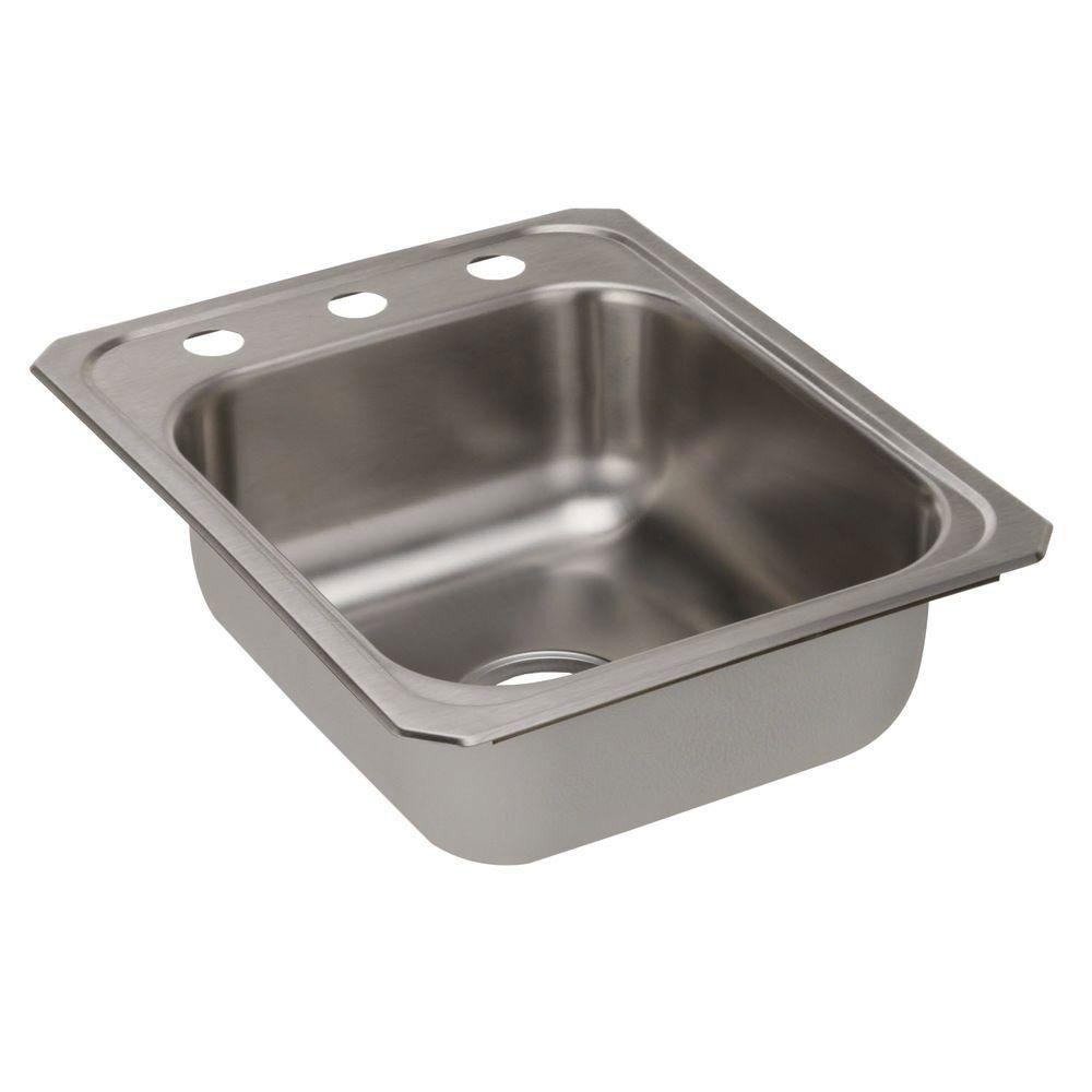 Elkay Celebrity Top Mount Stainless Steel 17x21-1/4x6-7/8 3-Hole Single Bowl Kitchen Sink 773137