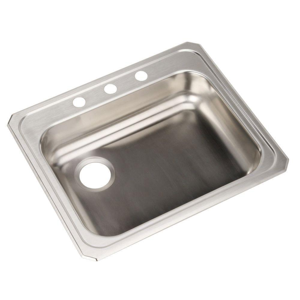 Elkay Celebrity ADA Top Mount Stainless Steel 25 inch x 21-1/4 inch x 5.375 inch 3-Hole Single Bowl Kitchen Sink 786664